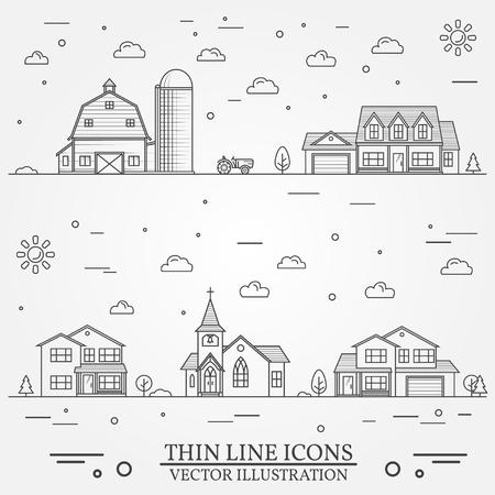 Buurt met gebouwen op wit wordt geïllustreerd dat Stockfoto - 83157935