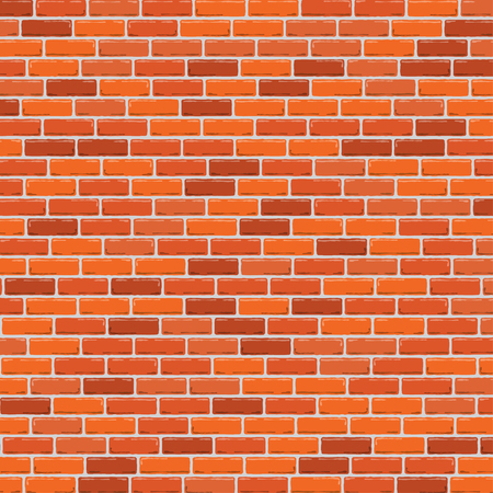 Red brick wall background. Vector illustration Vettoriali