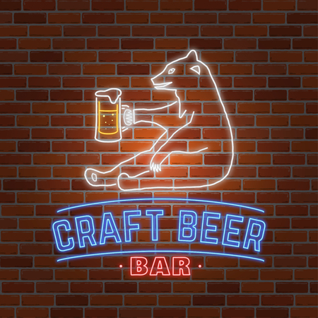 rubberstamp: Neon signboard Craft Beer with bear.