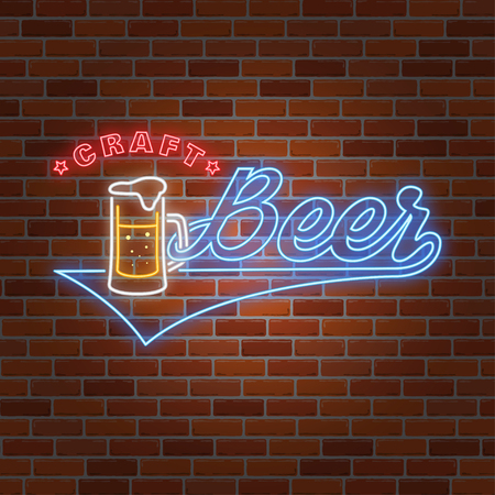 Neonontwerp voor bar-, café- en restaurantzaken. Stock Illustratie