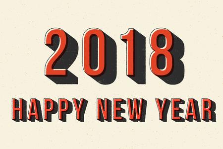 2018 Happy New Year retro typography poster.