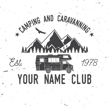 Camping and caravaning club. Stock Illustratie