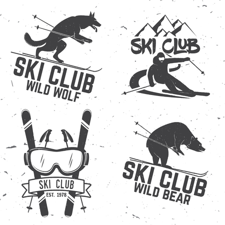 Ski club retro badge. 矢量图像