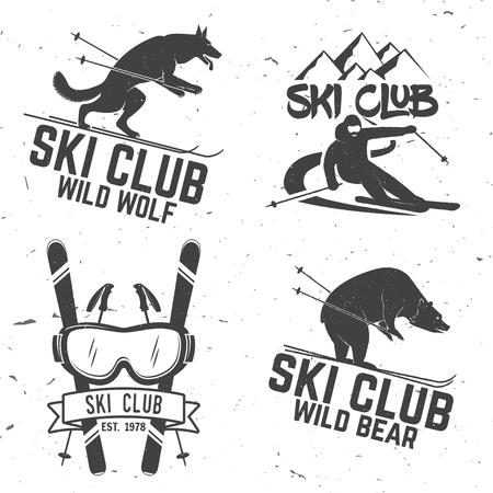 Znaczek retro klub narciarski. Ilustracje wektorowe