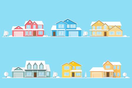 Buurt met huizen geïllustreerd op blauw.