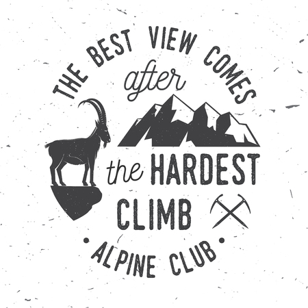 Vintage typography design with ice axe, rock climbing Goat and mountain silhouette. 向量圖像