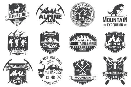 Conception vintage de la typographie avec les alpinistes et la silhouette de montagne. Banque d'images - 85116338