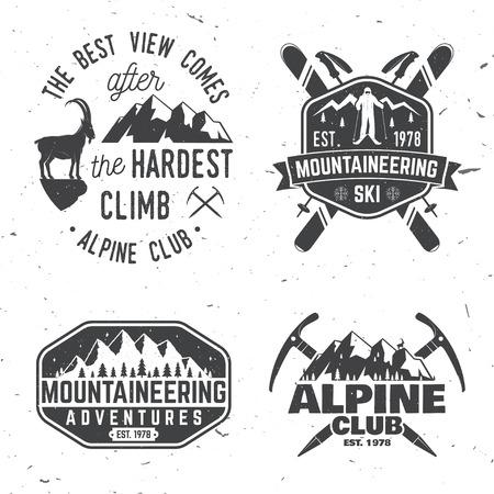 Vintage Typografie Design mit Bergsteiger und Berg Silhouette. Standard-Bild - 85116306