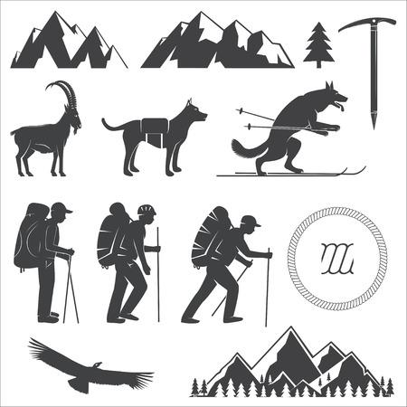 Satz von Alpine Club-Symbol. Vektor-Illustration. Standard-Bild - 85116318