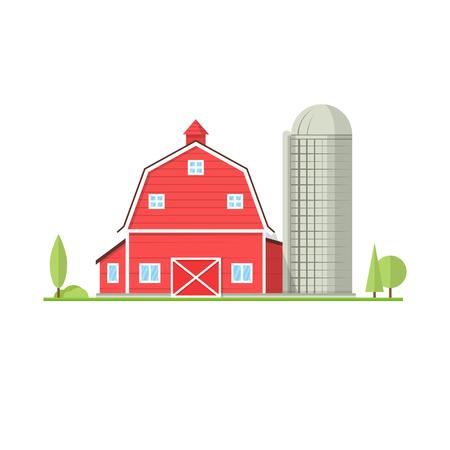 평면 스타일의 미국 농장 아이콘입니다. 일러스트