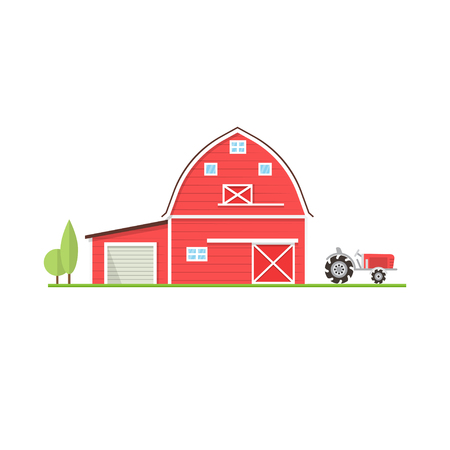 American farm icon in flat style. Vector illustration.
