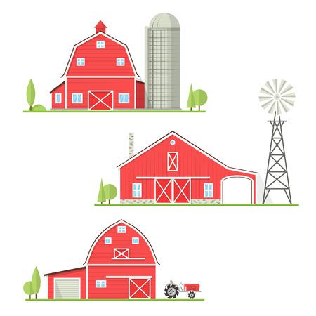 Conjunto de línea fina icono de granja americana.