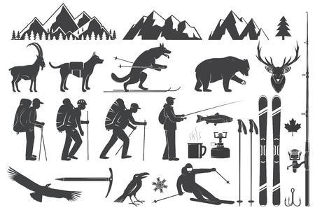 Bergsteigen, Wandern, Klettern, Angeln, Skifahren und andere Abenteuersymbole.