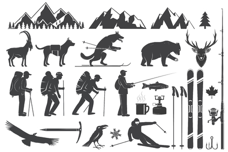 Mountaineering, hiking, climbing, fishing, skiing and other adventure icons. Illustration