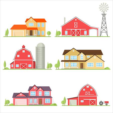 ベクトル フラット アイコン郊外アメリカの家。  イラスト・ベクター素材