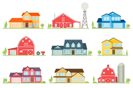 Vector flat icon suburban american house.