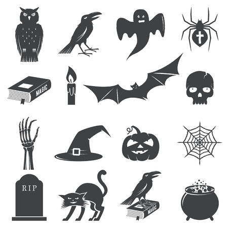 Set of Halloween icon silhouette. Vector illustration. Illustration