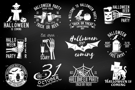Set of Halloween party badges Reklamní fotografie - 85582102