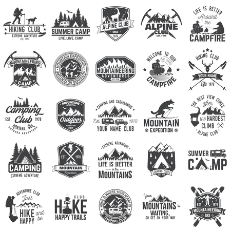 rocky road: Set of extreme adventure badges. Concept for shirt or logo, print, stamp or tee. Illustration