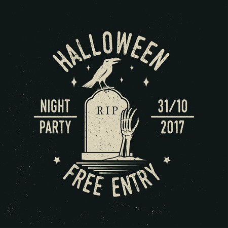 Halloween night party concept. Vector illustration.