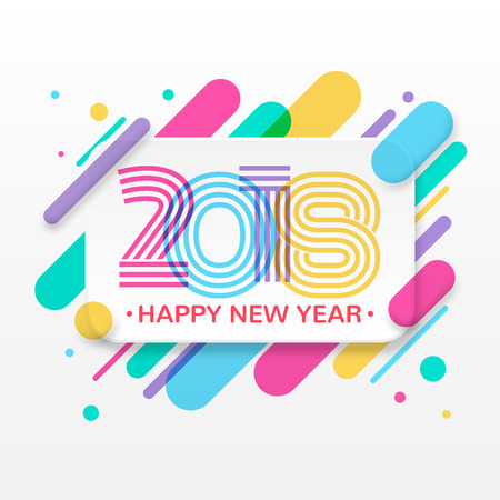 2018 Happy New Year greeting card Vector illustration.