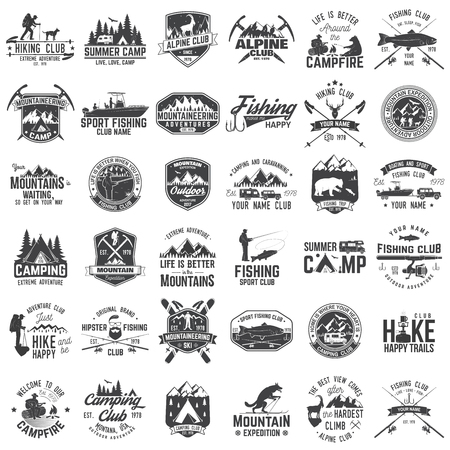 Set of extreme adventure badges. Concept for shirt or logo, print, stamp or tee. Ilustrace