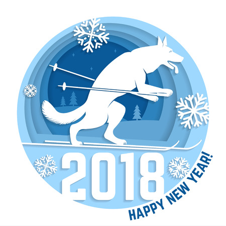 2018 Happy New Year greeting card Ilustrace