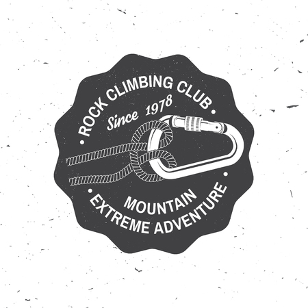 Vintage typography design with knot for quickly tying a climbing rope and carabiner.