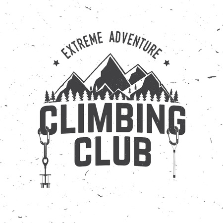 Vintage typography design with carabiners, condor and mountain silhouette. Ilustração