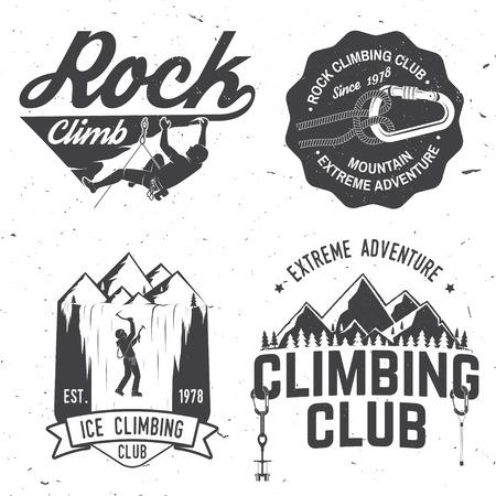 Conception de typographie vintage avec grimpeur, mousqueton et montagnes Banque d'images - 87125506