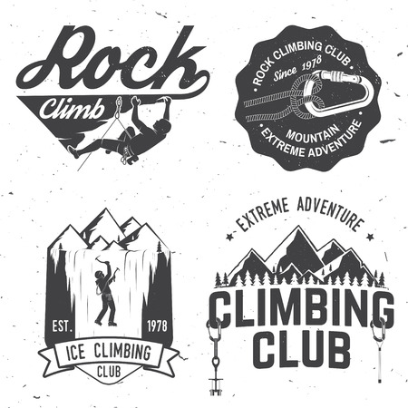Vintage typography design with climber, carabiner and mountains