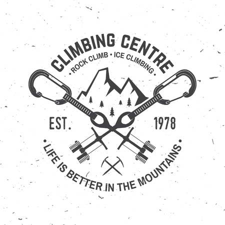 Vintage typography design with cams to hexes, mountain and carabiner.