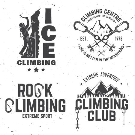 登山家、カラビナと山とヴィンテージは、タイポグラフィ デザイン