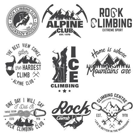 登山家、カラビナと山とヴィンテージは、タイポグラフィ デザイン 写真素材 - 87125515