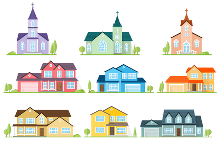 Set of flat icon suburban american houses and churches.