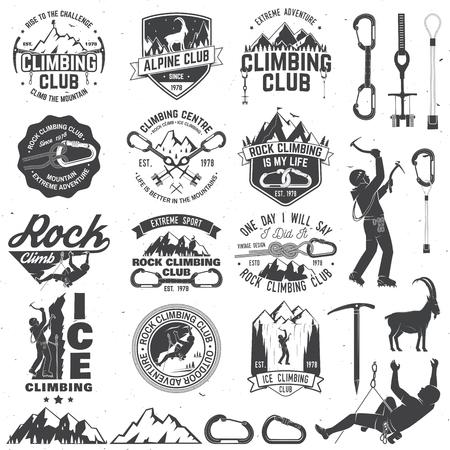 Conjunto de insignias de club de escalada con elementos de diseño Foto de archivo - 87626974