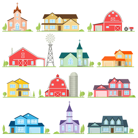 Set of vector flat icon suburban american houses. Çizim
