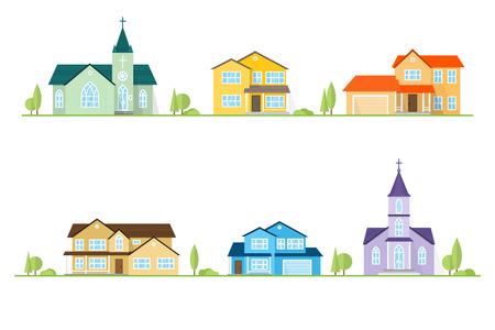 Buurt met huizen en kerken geïllustreerd op wit. Stockfoto - 87626988
