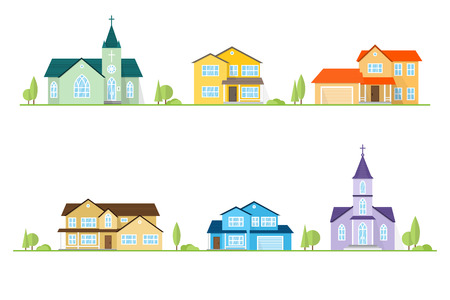 Neighborhood with homes and churches illustrated on white.