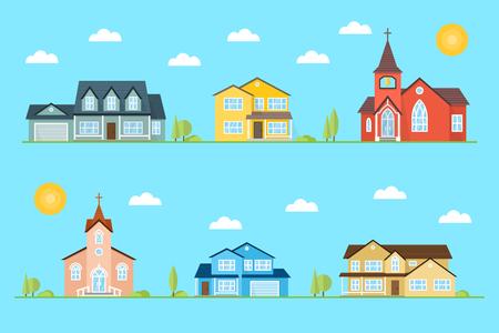 Buurt met huizen en kerken geïllustreerd op de blauwe achtergrond.