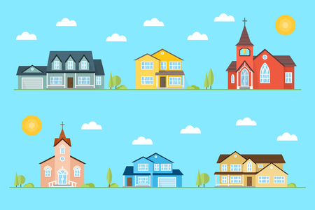 Neighborhood with homes and churches illustrated on the blue background.