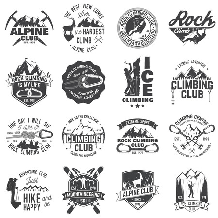 Set of Rock Climbing club badges with design elements. Illustration