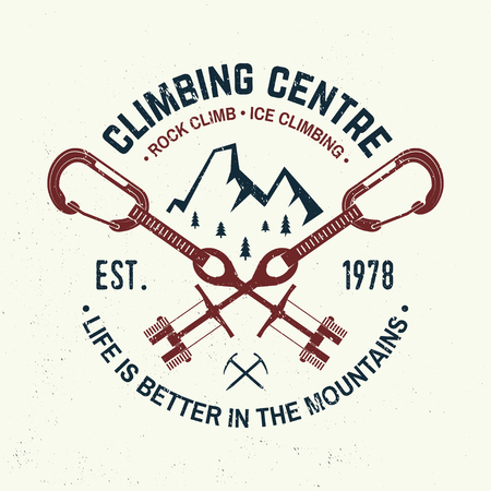 Vintage typography design with carabiners, condor and mountain silhouette. Illustration