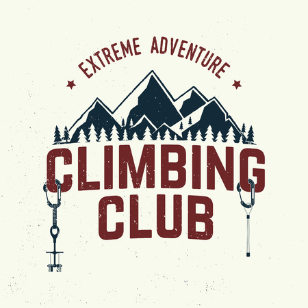 Vintage typography design with carabiners, condor and mountain silhouette. Çizim