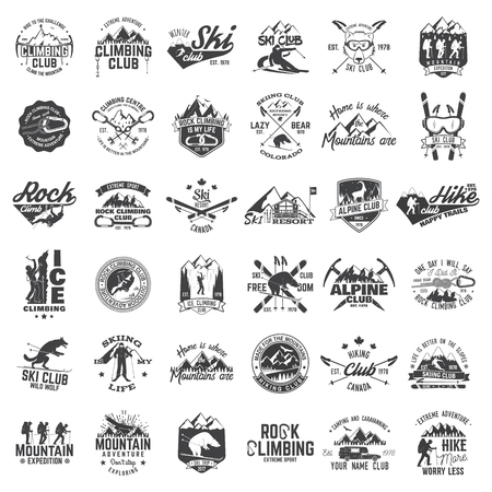 Set of extreme adventure badges. Concept for shirt or logo, print, stamp or tee. Vectores