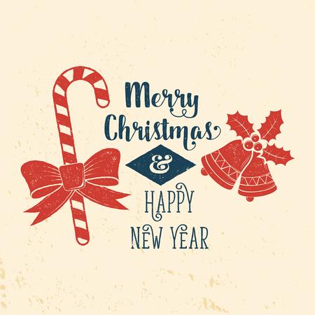 非常に幸せなクリスマスを願っています。タイポグラフィ デザイン。  イラスト・ベクター素材