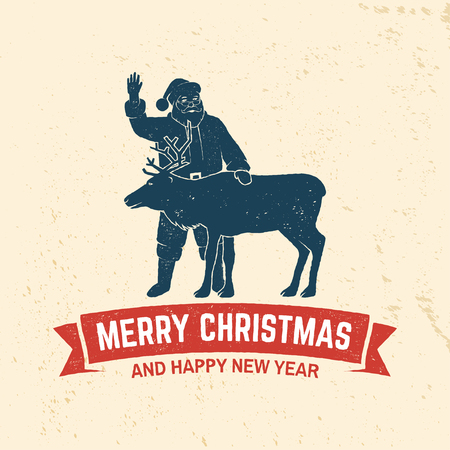 Merry Christmas and Happy New Year retro template with Santa Claus and deer silhouette