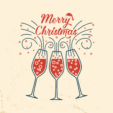 Merry Christmas retro template with Champagne glasses. Illustration