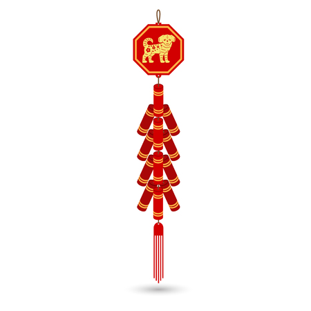 Red chinese firecracker flat icon.