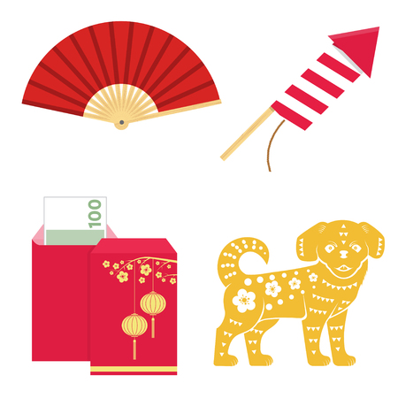 Set of Chinese new year design elements.